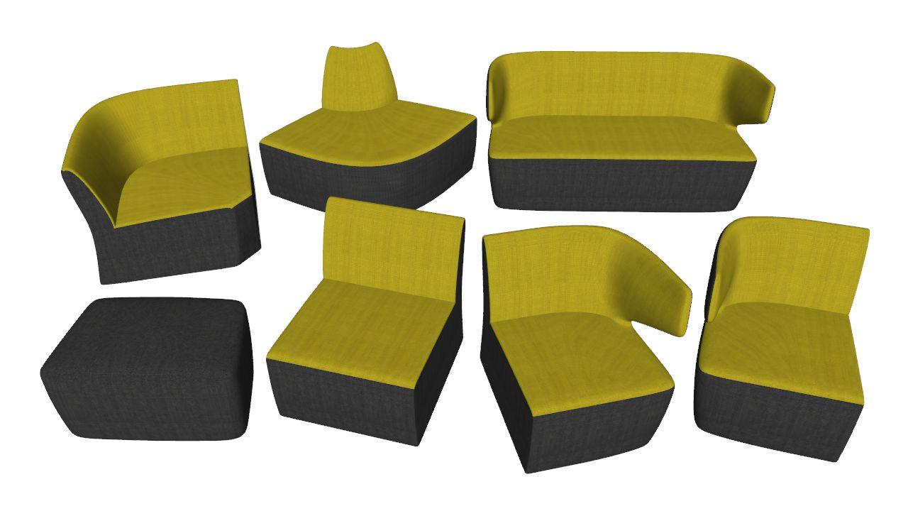 Kancelářský sedací nábytek od LD Seating, série Club - knihovna komponent pro SketchUp