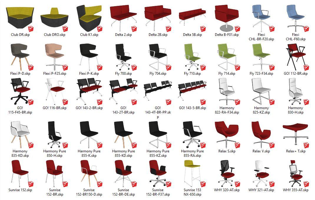 Kancelářský sedací nábytek od LD Seating - knihovna komponent pro SketchUp