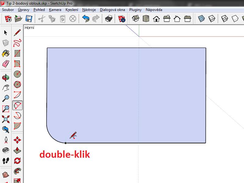 Jakmile oblouk změní barvu na purpurovou, dvakrát klikněte myší (double-klik)