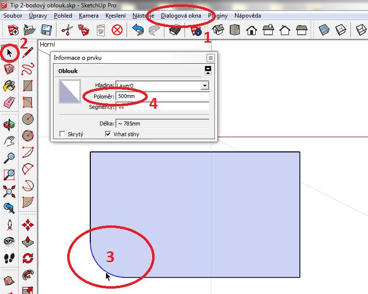 Označte oblouk (vysvítí se modře) a na panelu Informace o prvku přepište položku Poloměr.