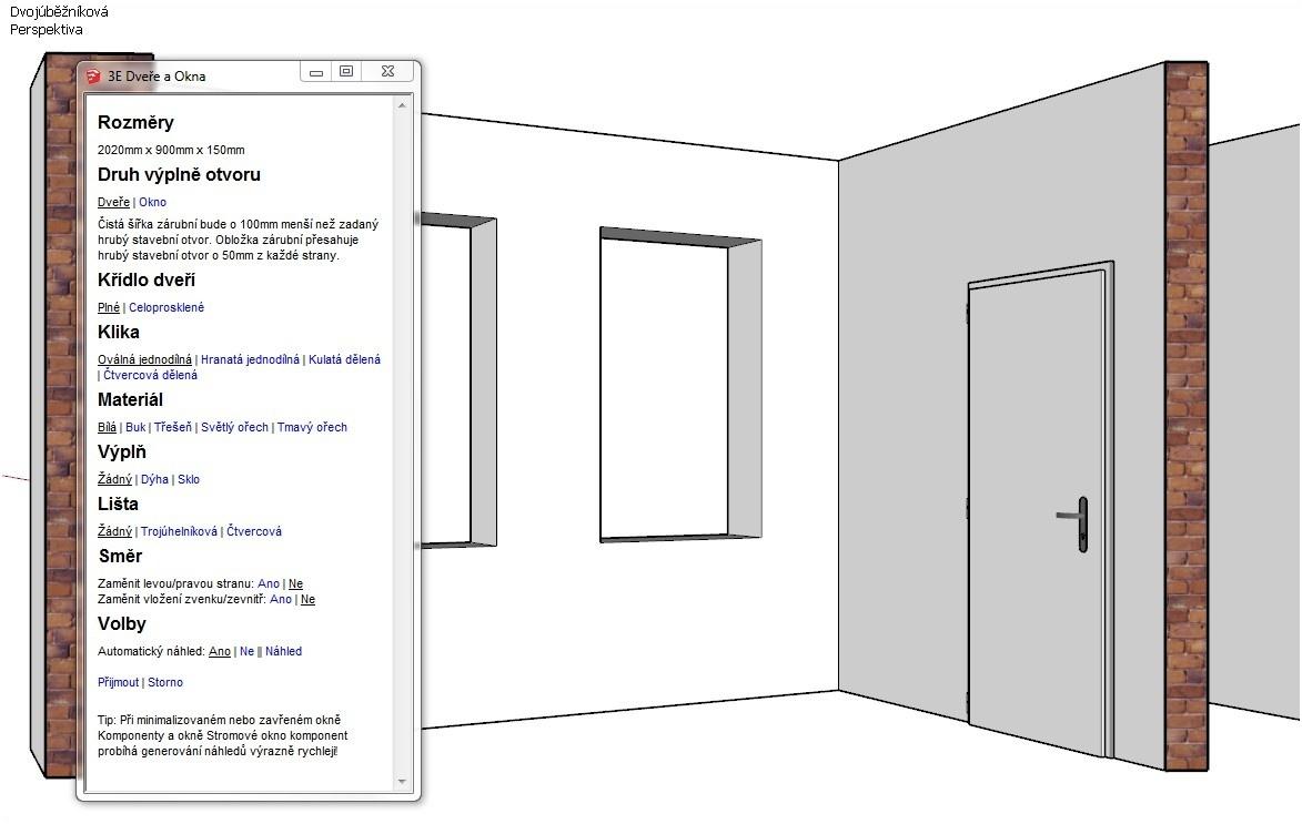 Výplně otvorů pomocí pluginu 3E Dveře & Okna pro SketchUp
