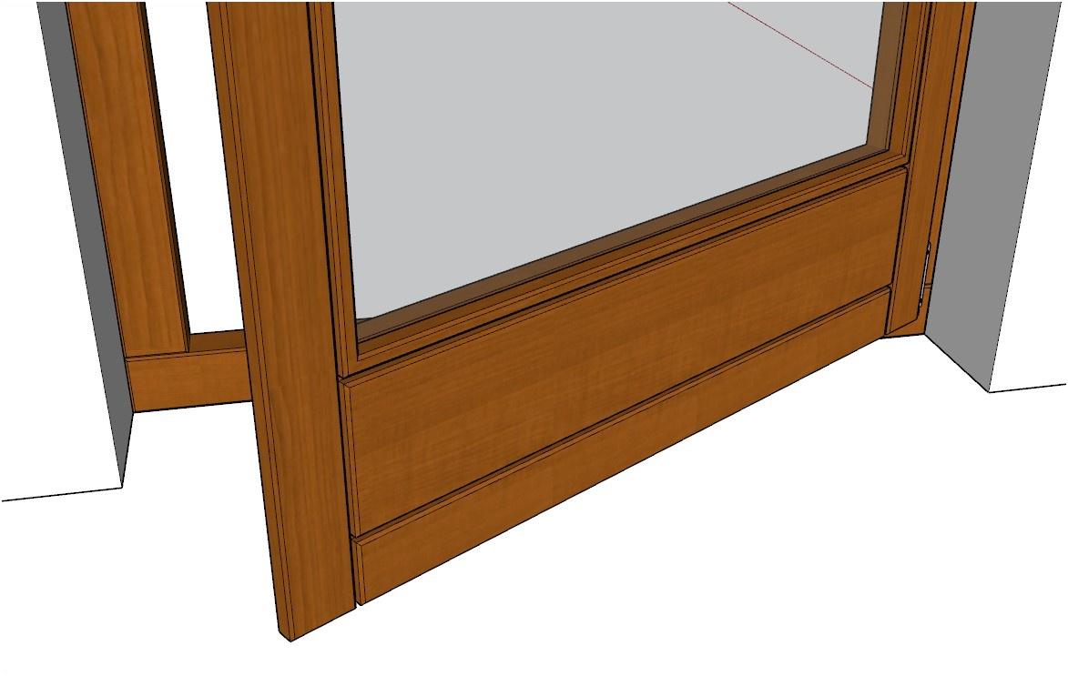 Detail spodní části francouzského okna vytvořeného pomocí pluginu 3E Dveře & Okna pro SketchUp