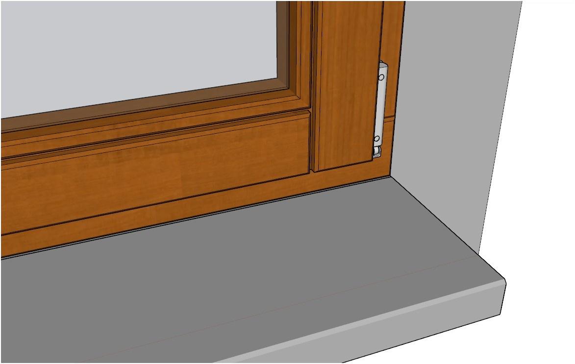 Detail rámu okna včetně pantu a parapetu vytvořeného pomocí pluginu 3E Dveře & Okna pro SketchUp