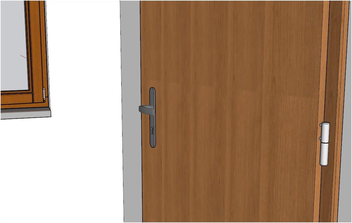 Detail křídla plných dveří vytvořených pomocí pluginu 3E Dveře & Okna pro SketchUp