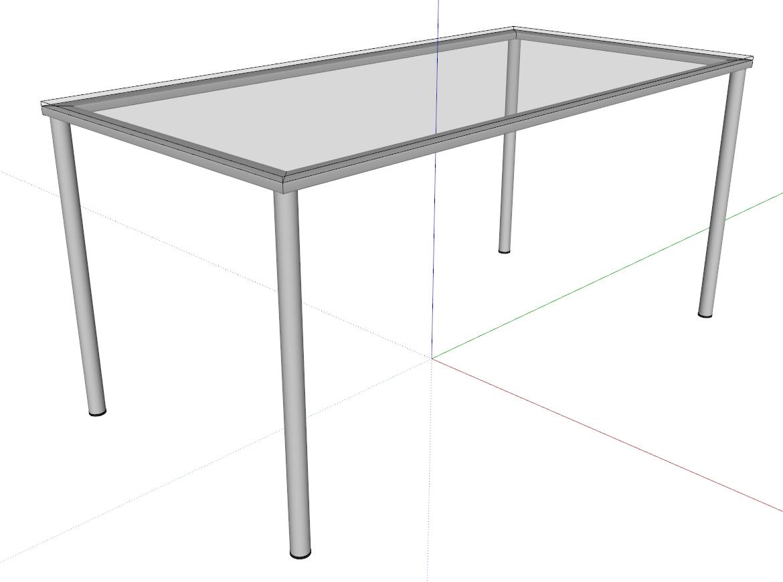 Stůl s kovovým rámem a skleněnou pracovní deskou - 3E Parametrické Tvary pro SketchUp