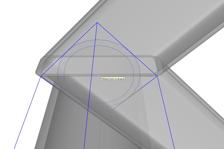 Tento celek umístíme na požadované místo (střed trubky na středový bod zkosení jeklu)